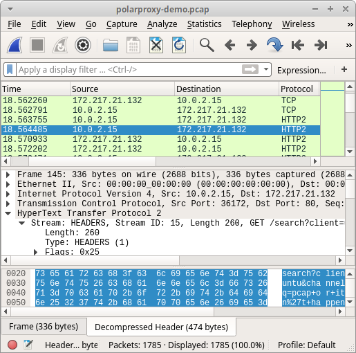 HTTP/2 traffic from PolarProxy opened in Wireshark