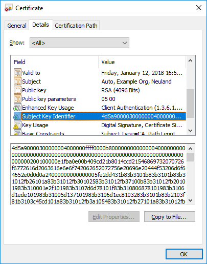 X.509 certificate with MZ header in the Subject Key Identifier field